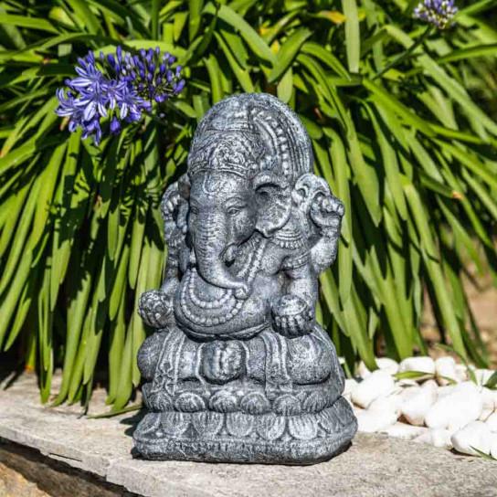 Statue Ganesh en pierre 40cm noir gris