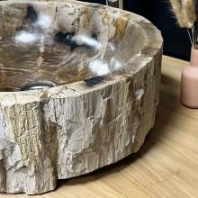 vasque poser vasque en bois bois p trifi fossilis marron 65 cm. Black Bedroom Furniture Sets. Home Design Ideas