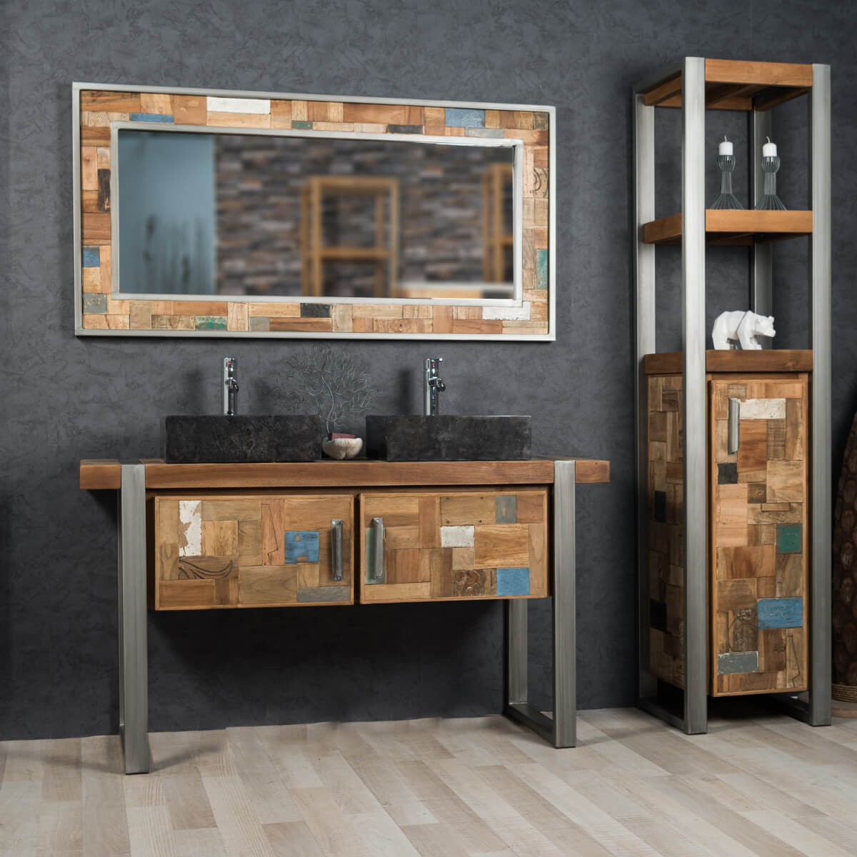 Salle de bain style industriel for Collection meuble industriel